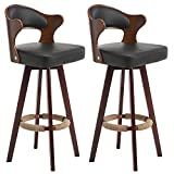 XHRHao Set Of 2 Swivel Barstools Wooden Hollow Back Barstools Cotton/PU Leather Seat Surface Bar Chairs Wooden Chair Frame Bar Stool Counter Height Barstools Counter Height Bar Stools (Color : Black)