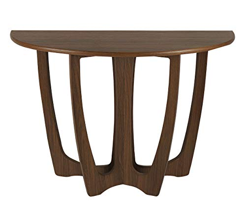 RANDEFURN Wooden Console Table, Half-Moon Shape Entryway Table, Semicircle Narrow Side Table, Sideboard for Living Room and Corridor, 110x43x76 CM, Chestnut