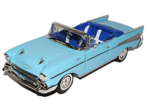 Motormax Chevrolet Chevy Bel Air 1957 Cabrio Blau Oldtimer 1/18 Modellauto Modell Auto