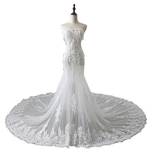 Vestido de Dama de Honor de Boda Vestido de Novia Sexy sin Tirantes Vestido de Novia Elegante de Moda Vestido de Novia Largo de Encaje de Trapeador Vestido de Noche, C-F, blanco, US12