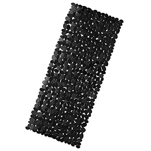 RenFox Tapis de Douche Antiderapant Tapis de Baignoire de Bain Enfant avec Ventouse Anti Moisissure Fond de Douche Galet Lavable en Machine, SANS Phtalates de Latex, Extra Long 88 x 40cm Noir