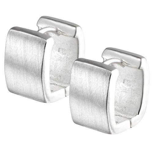 Vinani Klapp-Creolen viereckig abgerundet mattiert-glänzend Sterling Silber 925 Ohrringe CUM