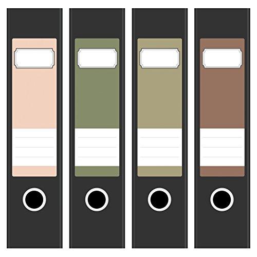 Ordneretiketten | 4 Aufkleber für breite Akten-Ordner | Farben-Mix Vintage 2 | selbstklebende Design Akten-Etiketten | Deko Sticker für Rückenschilder Ordnerrücken | zum Beschreiben