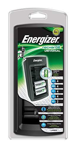 Energizer - Cargador de Pilas Universal Compatible AA/AAA/C/D / 9V, Indicador de Carga