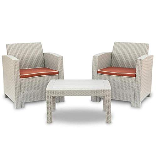 AOLI 3 Pcs Weather Outdoor Patio Garden Furniture Sofa Set Gray White-Love Seat and Coffee Table Single Sofa