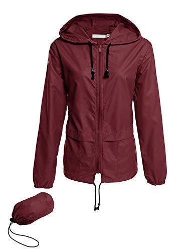 Rain Jackets Women Lightweight Waterproof Windproof Raincoat Packable Outdoor Hooded Windbreaker Wine Red M
