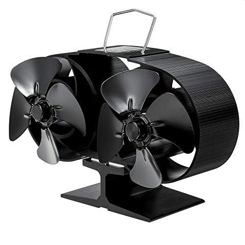 Kinnart Mini-Ofenventilator, 8 Klingen, wärmebetriebene Gas-Holzbrenner, Luftstrom, Gebläse für Zuhause, Kamin, Ofen, Ventilator Schwarz