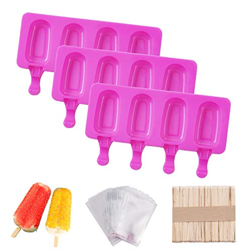 3 pcs Silicone Popsicle Molds, Mini Classic Oval 4 Cavities Homemade Popsicle Maker Mold with 50 Wooden Sticks & 50 Parcel Bags, for DIY Ice Cream.