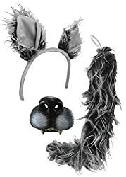 Big Bad Wolf Ears Tail Mini Nose Mask Werewolf Animal Wolfman Costume Kit Set Grey/Brown