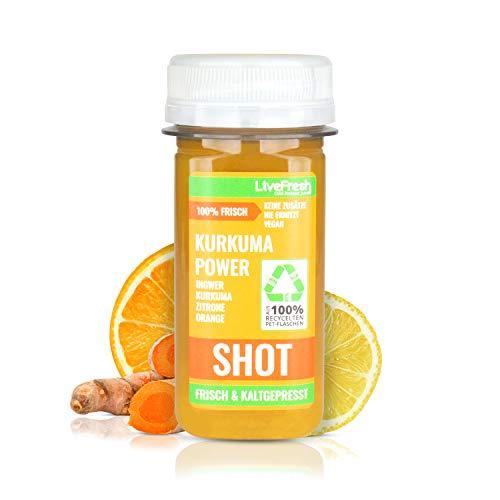 LiveFresh Wellness SHOT - KURKUMA & INGWER - 60ml   Kaltgepresst aus frischem Kurkuma, Ingwer, Orange, Zitrone   Keine Zusätze, kein zusätzlicher Zucker   Gekühlt und isoliert geliefert (24)