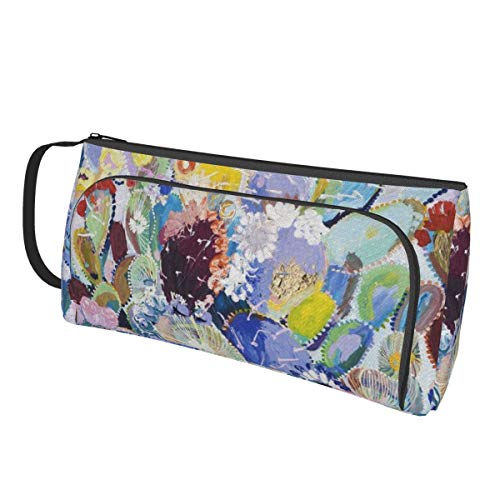 TYHG Large Capacity Pencil Case With Hand Band 3d Colorful Cactus Art Painting Flowers Double Zipper Multi-Slot Portable Pen Bag For Office Boy