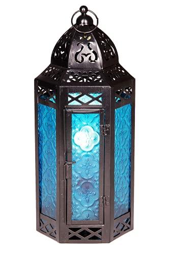 Kansas Farol de metal y cristal, 30 cm, marroquí, para interior y exterior, color azul