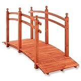 Nexos Große Holzbrücke mit Geländer begehbar XL Teichbrücke rot braun Größe 235x75x109 cm...