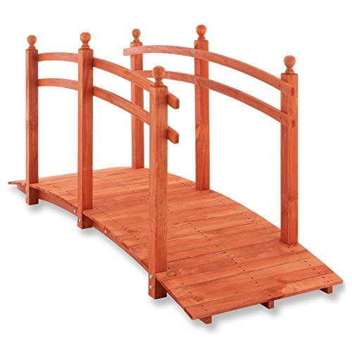 Nexos Große Holzbrücke mit Geländer begehbar XL Teichbrücke rot braun Größe 235x75x109 cm Dekobrücke Gartenbrücke Gartendekoration Teichübergang
