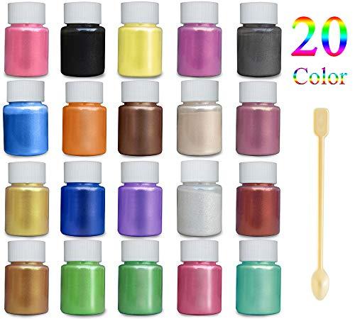 JEMESI Mica Metallic Pulver für Epoxidharz Schmuck I 20 Farben je 10g | Resin Gießharz Pigmentpulver I Farbpigmente für Fimo I DIY Glitzer Pigment Badekugeln