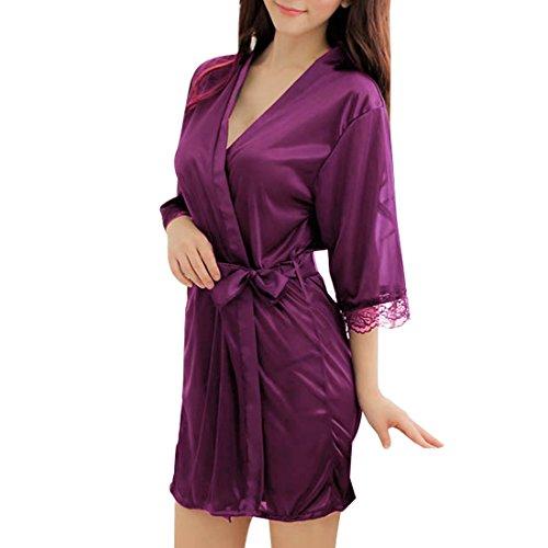 Sidiou Group Vestido Pijama Mujer Kimono Corto Bata de Satén Lencería Kimono del Cordón Satén Seda de Hielo Bata Albornoz Camisón (L, Estilo 1-Púrpura)