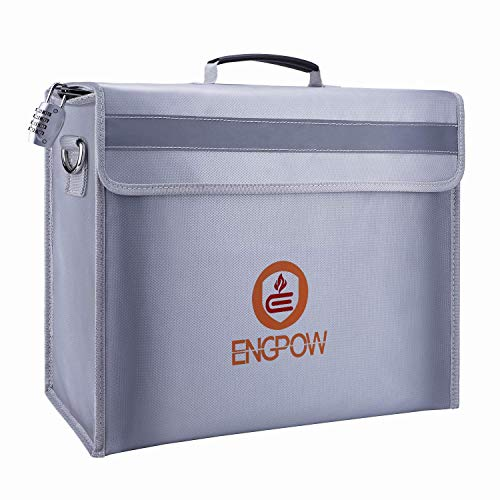 Fireproof Safe Fireproof Document Bag Money Bag,ENGPOW Large Fireproof Bag(16'x12'x5') with Lock Zipper,Fire and Water Resistant Fire Safe Bag Home Safe for Money,Document,File,Valuables