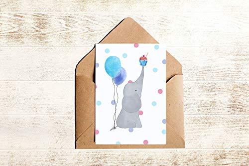 Geburtstagskarte Elefant   süße Postkarte zum Geburtstag mit Elefant Luftballons und Muffin für Kinder