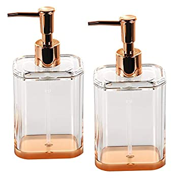 COM.TOP-Acrylic Soap Dispenser Set Bathroom Accessories Set Countertop Dispenser for Liquid Soap or Lotion  Rose Gold/Clear