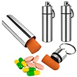 3 Packs Keychain Pill Holder, EFFIET Waterproof Pill Fob Case Box Outdoor Container for Emergency Medicine Drugs, Foam Earplug Storage Case with Ear Plugs (Silver)