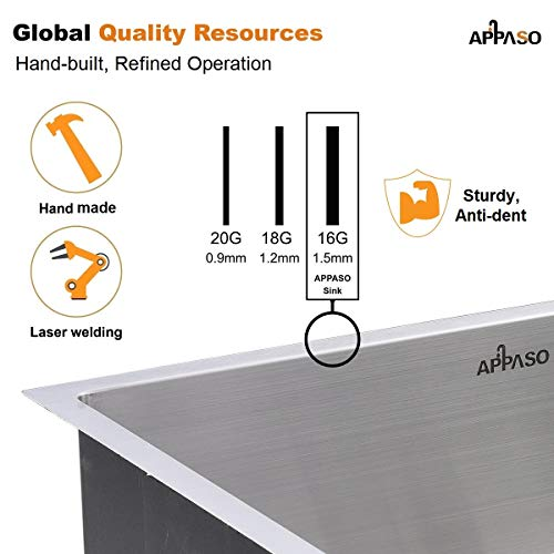 APPASO 32-Inch Single Bowl Kitchen Sink Undermount, 16-Gauge Stainless Steel 10-Inch Deep Commercial Handmade Large Drop-in Kitchen Sink, HS3219