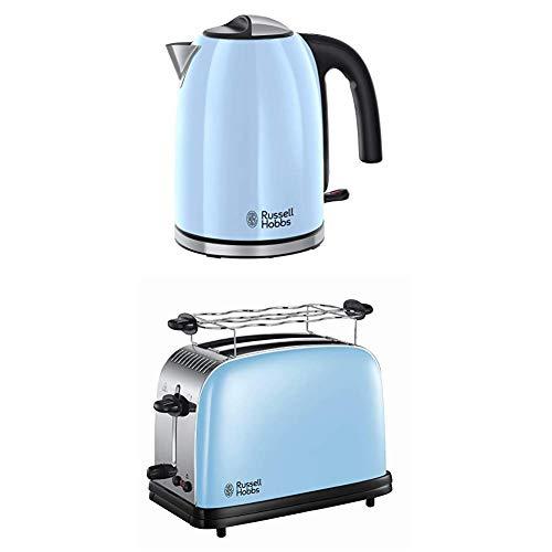 Russell Hobbs 20417-70 Wasserkocher Colour Plus+ Heavenly Blue, 2400 Watt, 1.7l, Schnellkochfunktion, blau & Russell Hobbs 23335-56 Toaster Colours Plus+ Heavenly Blue, 1670 Watt, blau