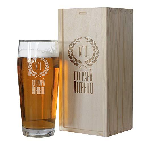 Angolo del Regalo Bicchiere da Birra di papà Personalizzato con Cassetta - Numero Uno