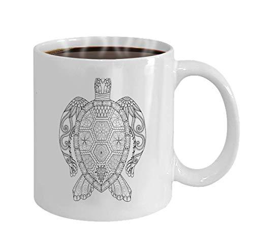 Tassen Kaffeetasse Zeichnung Zentangle Turtle Malvorlagen Design-Effekt Logo Dekoration Tasse für Büro und Zuhause