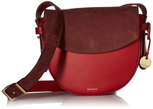 Skagen Damen Umhänge-Handtasche, Granat/Cordovan, Einheitsgröße