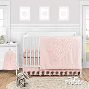 Sweet Jojo Designs Pink Boho Bohemian Baby Girl Nursery Crib Bedding Set – 4 Pieces – Solid Color Blush Shabby Chic Princess Luxurious Luxury Elegant Vintage Designer Boutique Victorian Embroidered