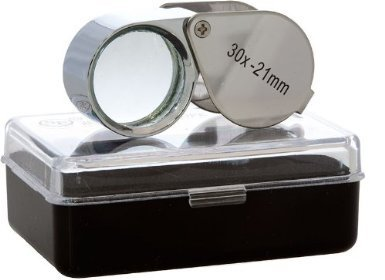LuckyStone Mini Microscope Jewelers Eye Loupe Magnifier Magnifying Glass Powerful Doublet, Chrome Plated, Round Body Jewelry Loupe, 21 mm, Silver
