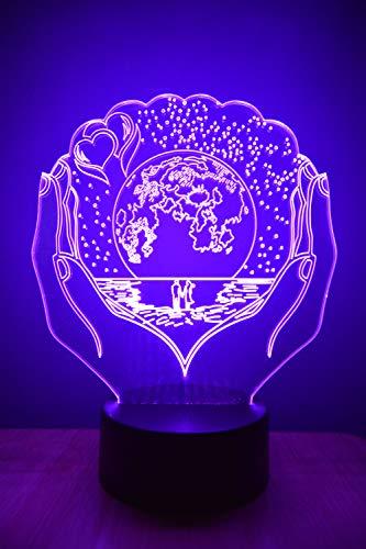 I Love You Lámpara de ilusión 3D luz nocturna al lado de la mesa colores cambio automático interruptor táctil decoración escritorio control remoto