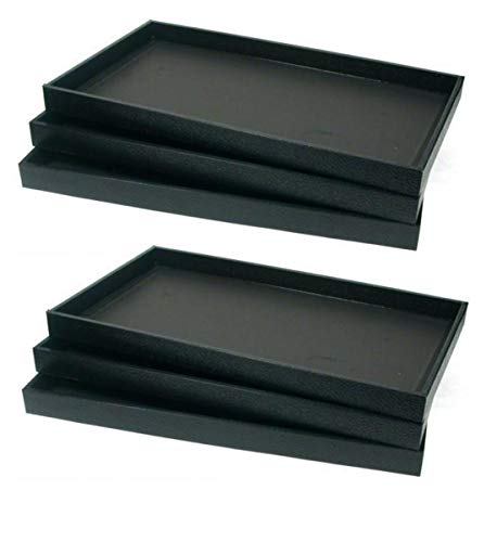 6-Piece 1-Inch Deep Black Full Size Plastic Stackable Jewelry Tray 14 3/4 X 8 1/4 X 1H