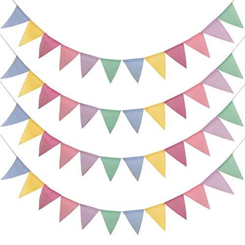 48 Pcs Guirnalda Banderas Banderines Arpillera de Imitación, Pancarta Triángulo Multicolor Decoración Colgante de Boda Bautizo Fiesta Cumpleaños Navidad(4 Cadenas)