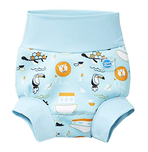 Splash About New Improved Happy Nappy, Pannolino da Nuoto Riutilizzabile Unisex-Baby, Arca di Noè, 6-12 Mesi