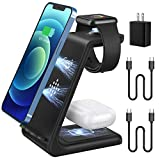 2021 Update Wireless Charging Station, JoyGeek 3 in 1 Wireless Charger, Qi Fast Charging Stand/Dock for Apple Watch SE/6/5/4/3/2, AirPods 2/Pro, iPhone/12/12 Pro/11/SE/X/XR/XS/XS Max/8 Plus (Black)
