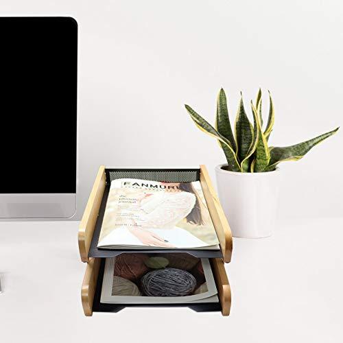 MIKA Organizer biurkowy do biura, organizer na dokumenty na biurko z 2-poziomową półką na dokumenty na dokumenty, do organizowania dokumentów, papieru, listów, 30 x 5 cm