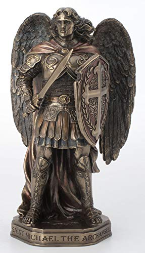 Veronese Design 11 Inch Archangel Saint Michael Sword and Shield with Base Cold Cast Resin Bronze Finish Statue Home Decor