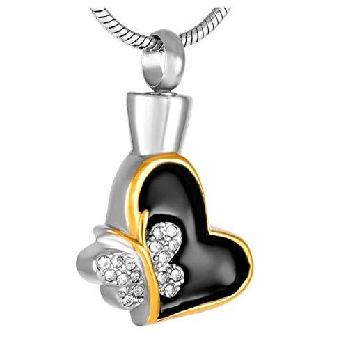 Wxcvz Collar para Cenizas Lote De Acero Inoxidable Corazón/Mariposa Colgante De Cremación De Oro Urna Joyería Contiene Cenizas