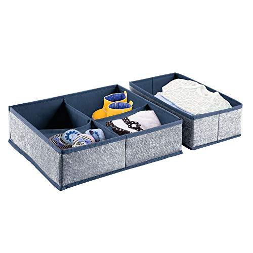 mDesign 2er-Set Kleiderschrank Organizer – die ideale Aufbewahrungskiste für Schrank oder Schublade im Kinderzimmer mit 1 BZW. 4 Fächern – flexibel verwendbare Stoffbox in 2 Größen – dunkelblau