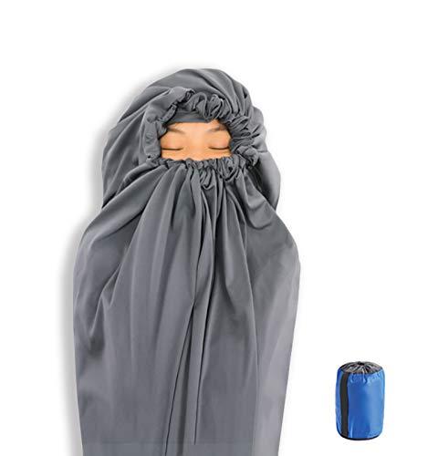 Litume サーモライト オールシーズン対応 インナーシュラフ 12°C までに向上 マミー型巾着フード付き バックパッキング、キャンプ、旅行、軽量で巾着フード付きの寝袋(E626, JP) (US マミー型)