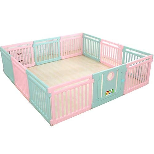 ZHAS Color Large Baby Playpen Activity CenteSafety Playard Door, Kid's Fence Indoor Outdoor, Easy Assembled, Anti-Slip Base with Lock