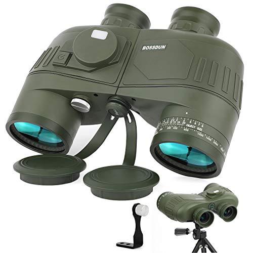 Prismáticos Marinos 10X50 para Adultos, Binoculares Impermeables con Telémetro, Brújula BAK4 & Prisma FMC,Lente para Observación de Aves, Caza, Navegación,con Adaptador de trípode
