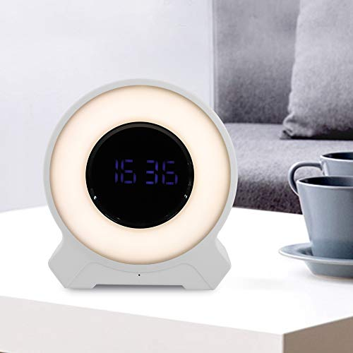 Tosuny nieuwe wekkerradio met gekleurde lichten, digitale wekkerradio, bluetooth 4.2, TF-kaart, AUX-verbinding, Touch Dimming White & Pink, wit