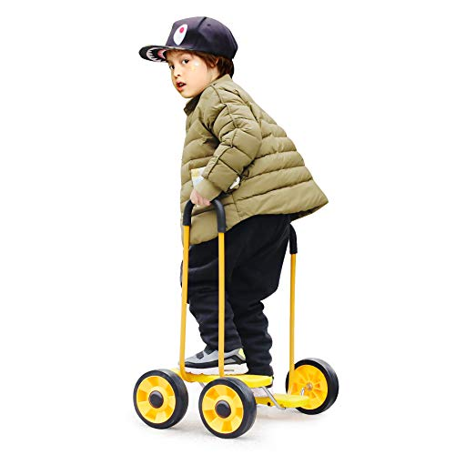Four Wheel Balance Bicycle with Handle,Toddler Balance Bike Stepping Scooter,Kindergarten Outdoor Toys Sensory Training Sports Equipment for Boys Girls 3-6 Year Old, Kids Indoor Exercise Activities