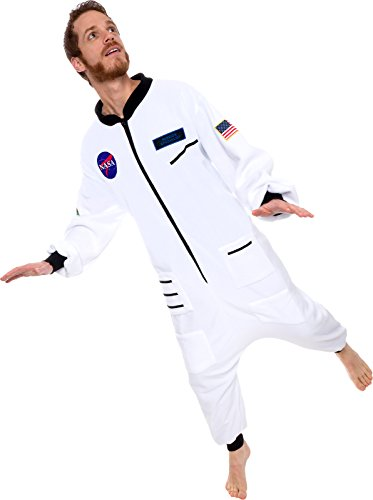 One Piece Astronaut Pajamas - Adult Space Jumpsuit Cosplay Costume by Silver Lilly (White, X-Large)