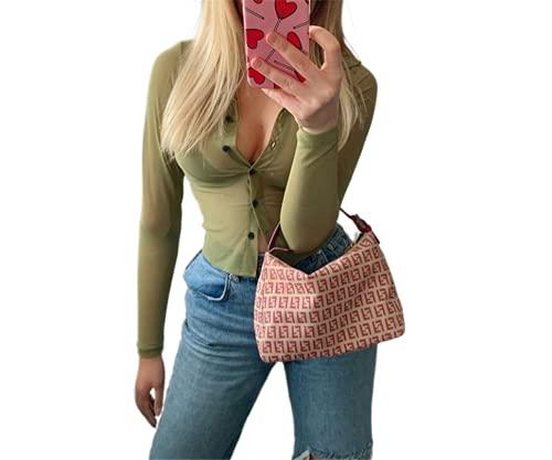 EveryLu Mujeres Sexy Cardigan Top Manga Larga Cuello Botón Abajo Camiseta Blusa Casual Color Sólido Camisa Y2k Streetwear