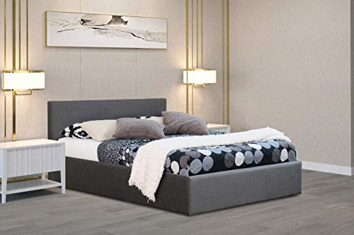 Home Treats Grey Ottoman Storage Bed Front Lift Up Frame With Deluxe Sprung or Foam Mattress (Small Double, No Mattress)
