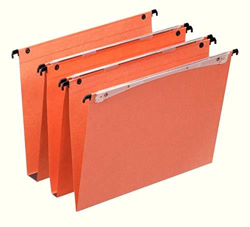 Esselte Dossier Suspendu Vertical, Multi-Dossiers, Fond 30 mm, A4, Lot de 25, Onglets inclus, Orange, Orgarex, 21633