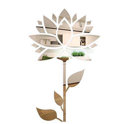 FLEXISTYLE Espejo Decorativo Sunflower, diseño Moderno, Espejo acrílico de 3 mm de la UE, para salón, Dormitorio, Pasillo, irrompible, Textiles para el hogar, Plata